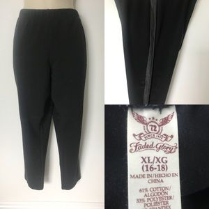 Black ponte pant with faux leather